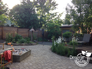 Portland back yard with pavers, fire pit and bird feeding patio in Arbor Lodge