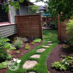 Landscape design in Rose City Park neighborhood enhances beauty and privacy of tiny side yard.