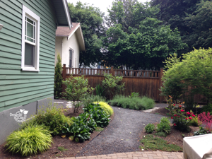 Mixed materials for Irvington hardscapes in landscape design.