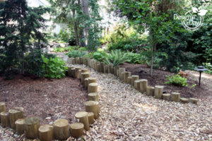 round wood edging defines cedar chip path in Portland, Oregon