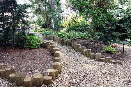 Round Wood Edging Defines Cedar Chip Path In Portland Oregon