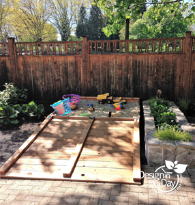 Custom sandbox in Portland Irvington area backyard.