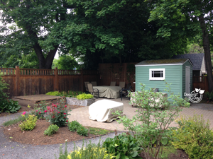 Relocating shed in Irvington backyard landscape design.