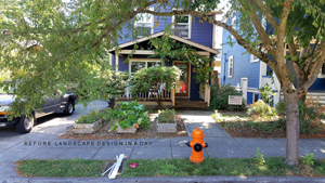 Rose City residential front yard in need of child friendly landscape design.