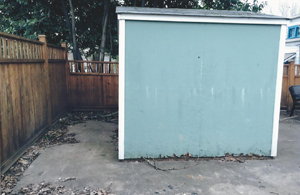Irvington backyard shed required in new landscape design.
