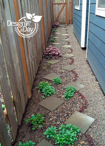 Intricate garden path in Portland garden design