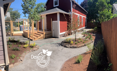 After landscape design brings life to narrow side yard