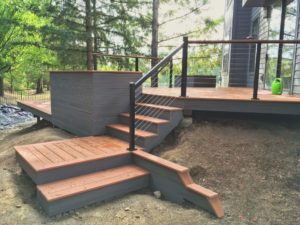 modern deck stairs and planter for modern home in West Slope Portland Oregon