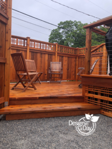 split level deck maximizes space in small NE Portland back yard