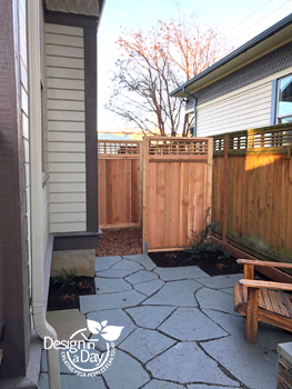 After photo of hardscape courtyard for tiny urban back yard in Buckman neighborhood