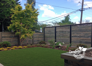 After landscape design mid century modern woodstock neighborhood includes new hardscape fence.