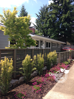 Mid Century modern landscape style is simple and colorful to accent new hardscape fence.