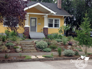 Steep sloped front yard entry landscape design solution Foster Powell Neighborhood