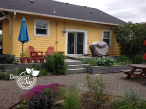 Foster Powell Backyard after landscape design using existing elements and plants in Portland Oregon