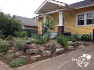 Boulders and attractive plants replace steeply sloped lawn in Foster Powell front yard