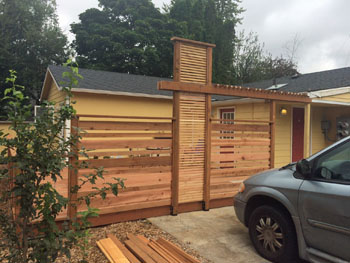 Privacy fence designed for ADU landscape in north Portland, Oregon