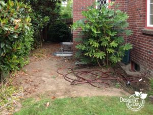 Before remodel of Portland client side yard landscape design.