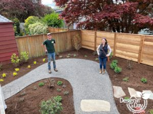 Large curve in path will allow room for Adirondack chairs in Laurelhurst neighborhood backyard.