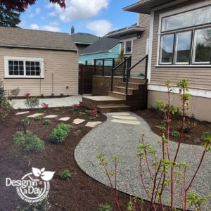 Laurelhurst home landscape design creates functional space and room for plants.