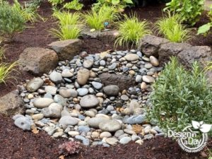Rain garden added to fix water problems in this landscape update.