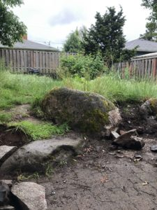before photo of existing boulder for Roseway neighborhood landscape design