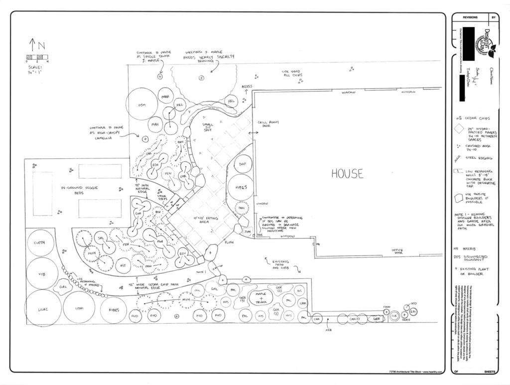 Landscape Design Drawing for Roseway neighborhood Portland garden.