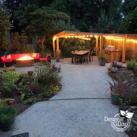 Covered dining area completes Outdoor Living Landscape Design
