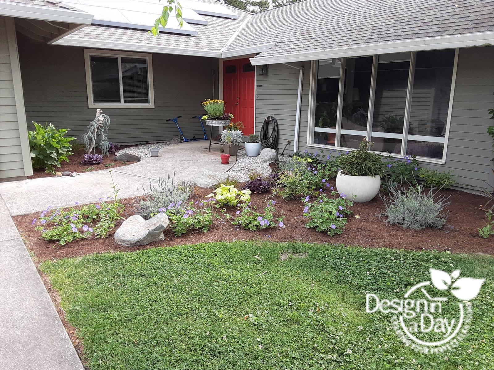 Portland affordable landscaping integrating existing plants.