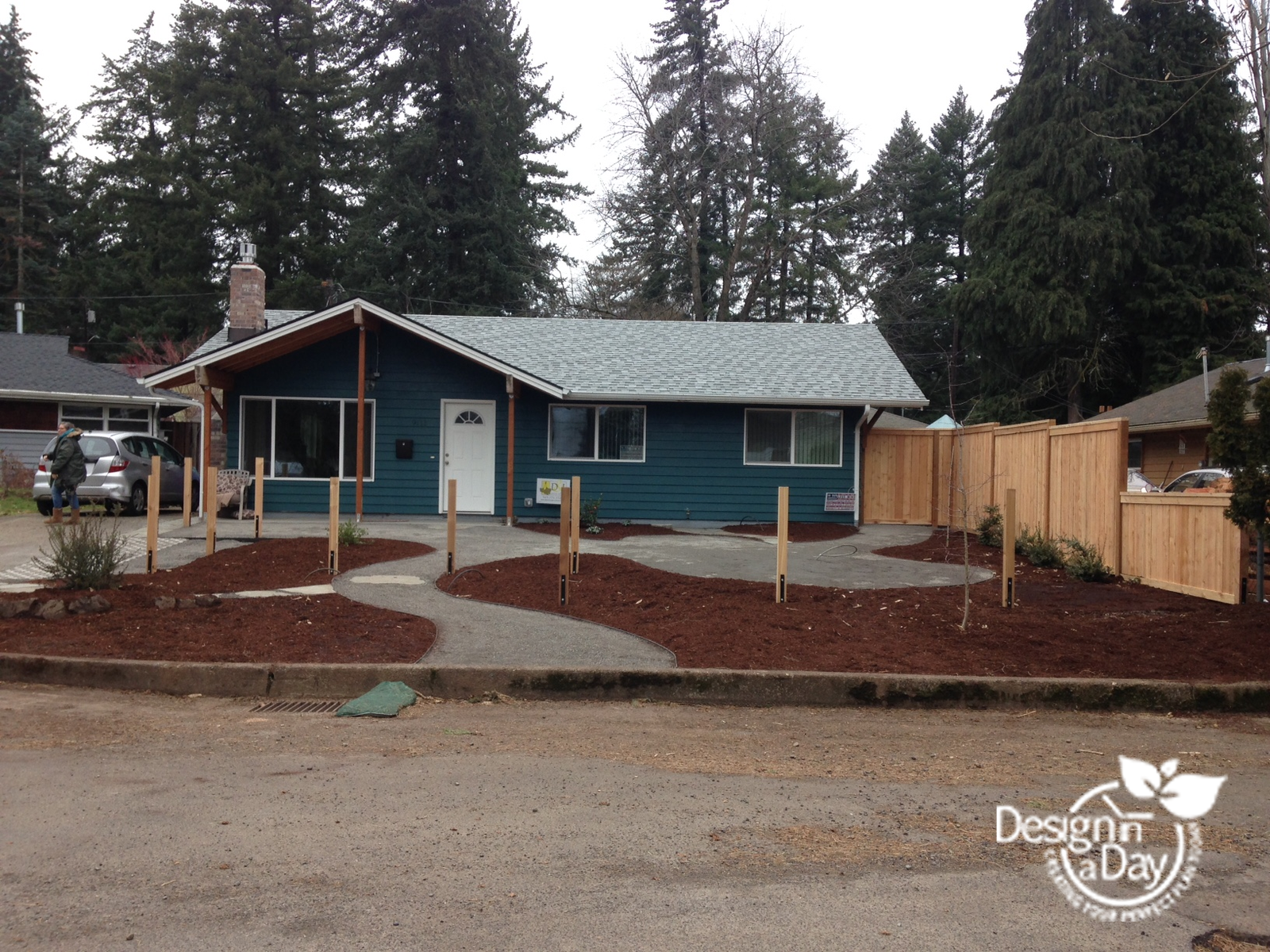 Portland front yard new hardscape paths for wild life friendly landscaping.