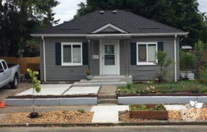 Kenton neighborhood home with diy concrete before garden design process