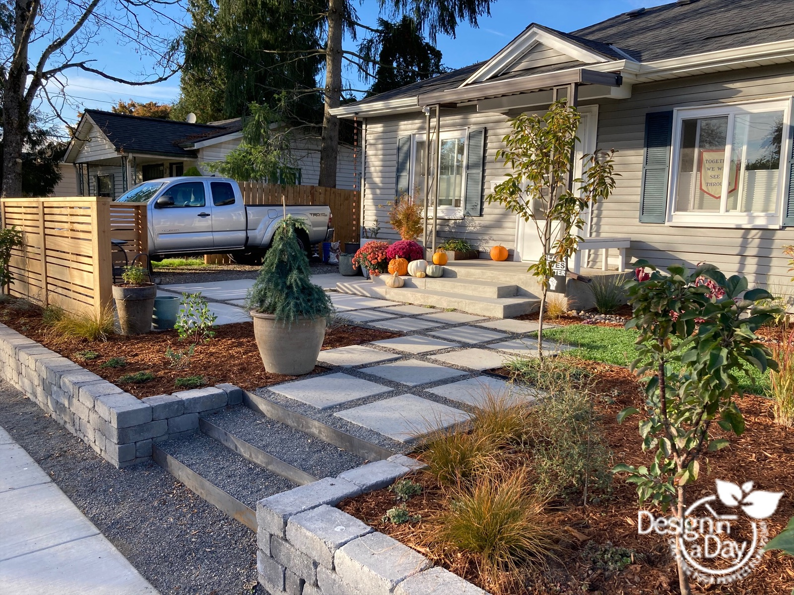 Modern Landscape Design For Kenton Neighborhood Front Yard Landscape Design In A Day