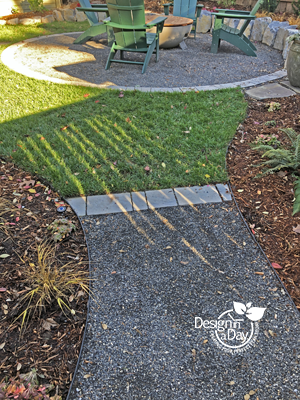 Repeating hardscape landscaping materials helps to integrate a small city property