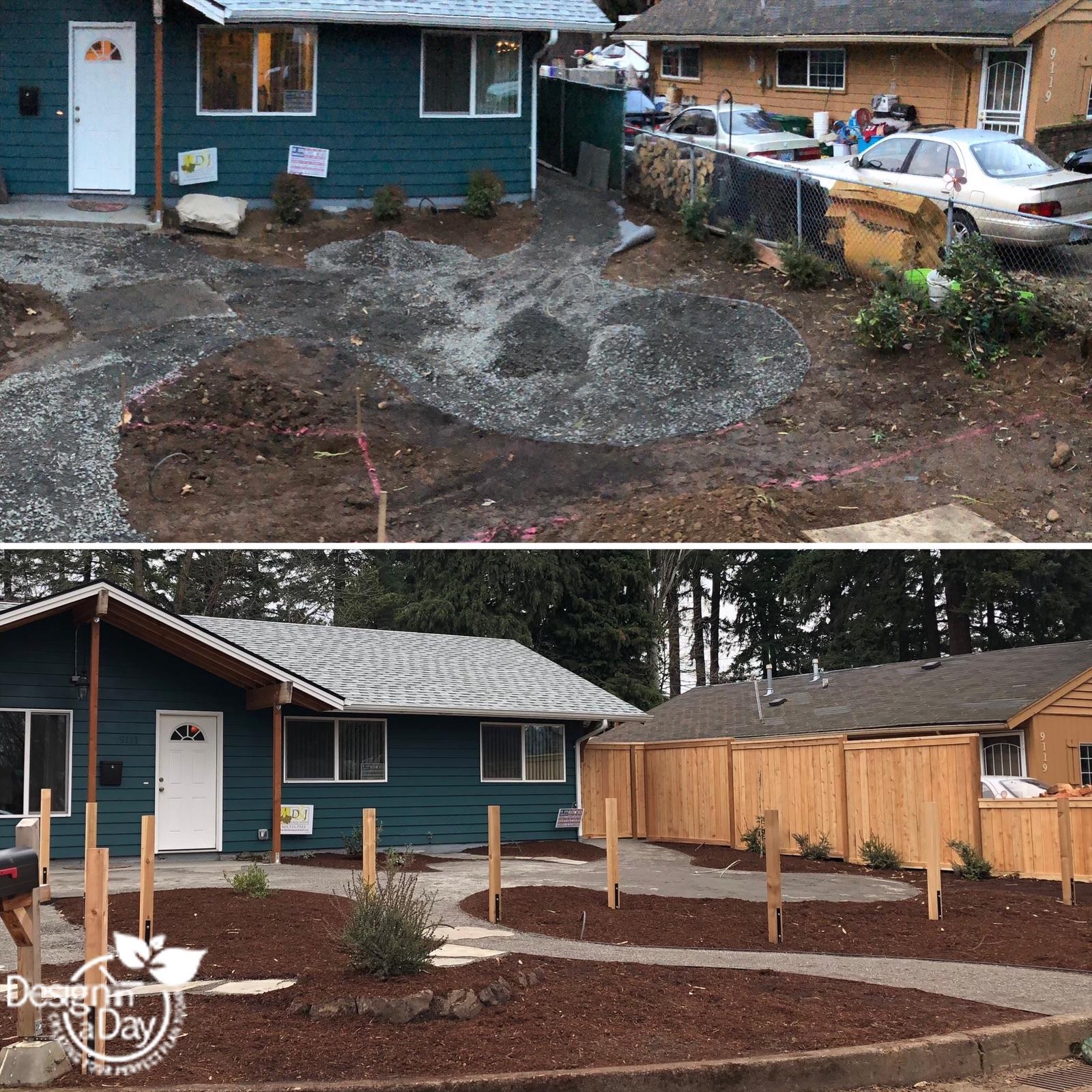 Portland front yard landscape makeover for wild life friendly garden.