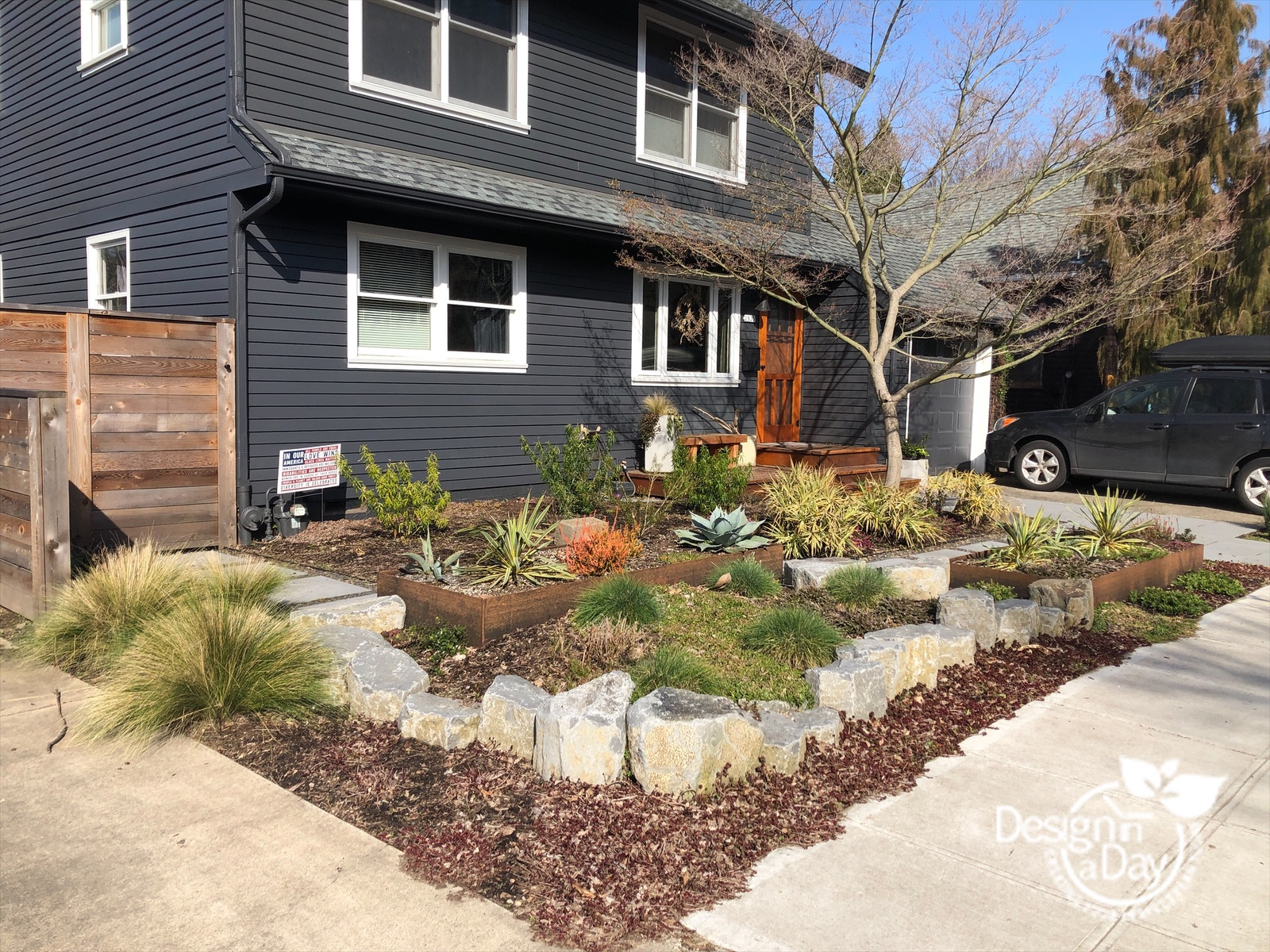 Drought tolerant front yard landscaping in Portland.