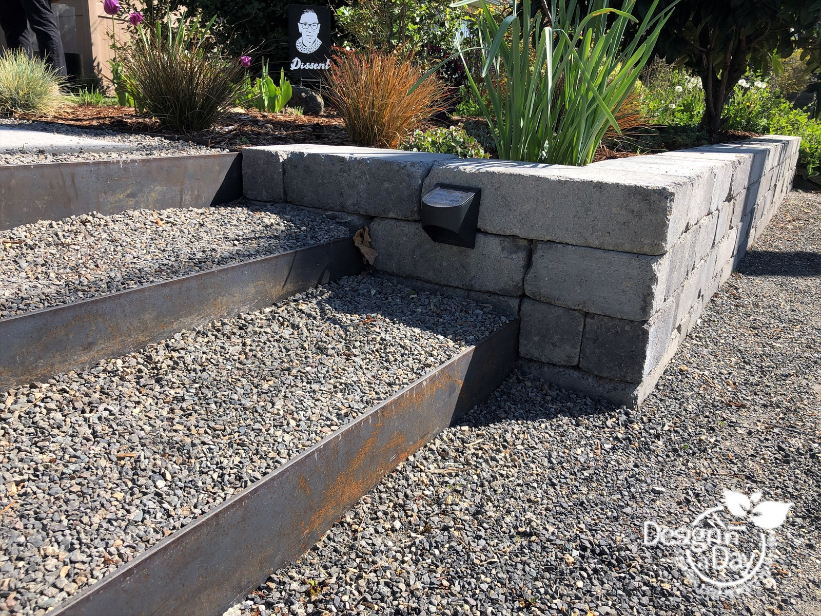 Modern landscape design adds steps with steel risers to Kenton front yard in Portland