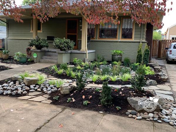 Portland Oregon residential landscape design with front yard rain garden.