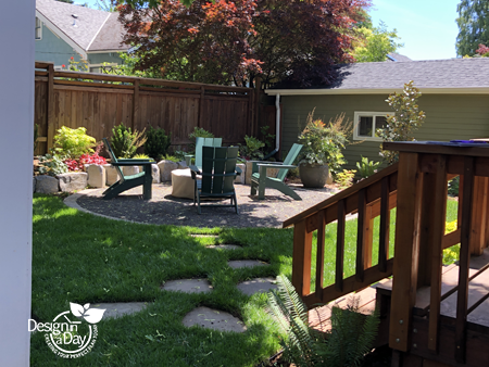 NE Portland back yard landscape design with gas firepit patio and colorful plantings