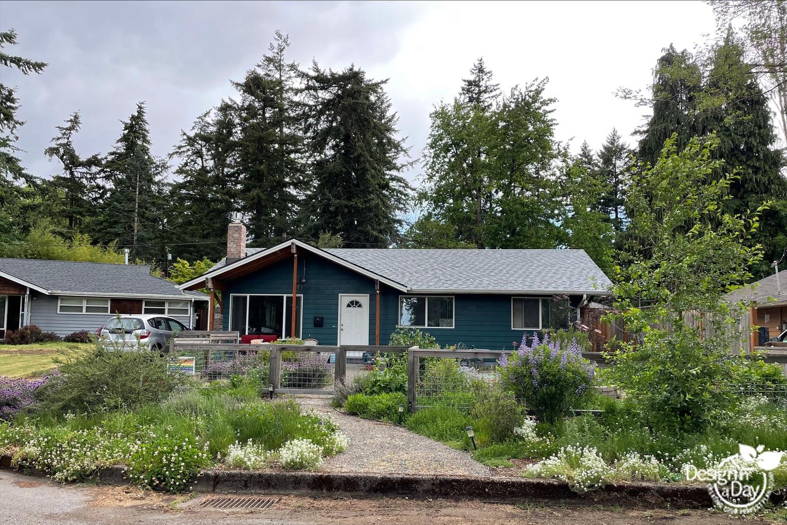 Wildlife friendly Portland front yard landscape design with pollinator loving plants.