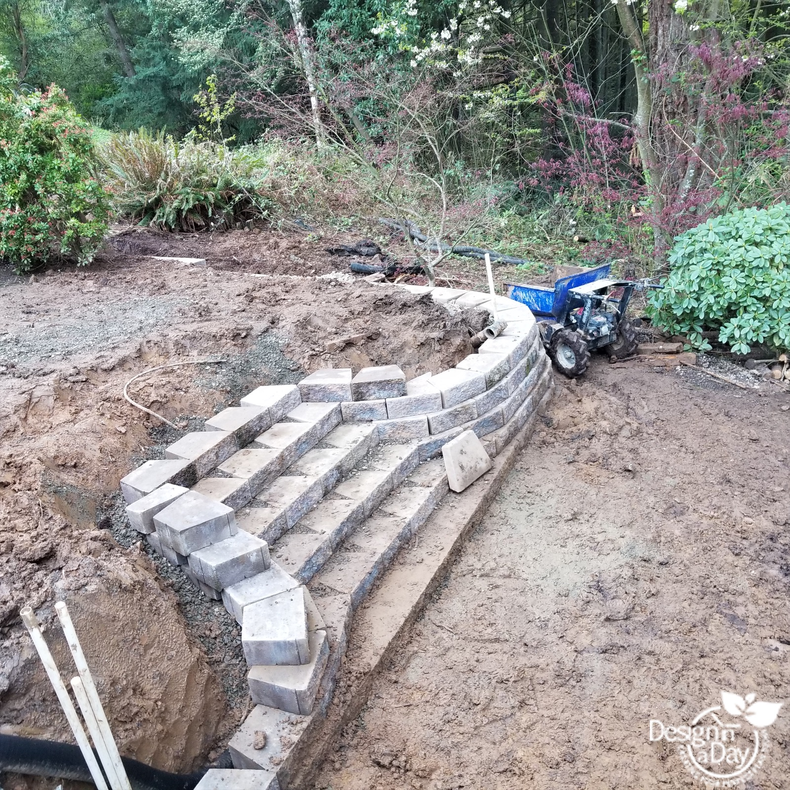 Hardscape is part of the garden design in this Portland backyard.