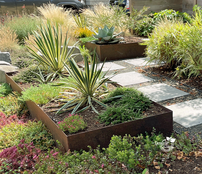 Steel planters make a low profile for modern style landscaping in Portland