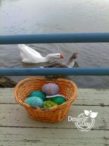 Portland Landscape Designer paints eggs.