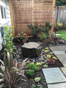 Echo Chamber water feature in NE Portland designed by Landscape Design in a Day and D and J Landscape Contracting for people and family dog.