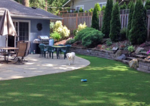 Stone patio with synthetic lawn
