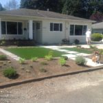 Synthetic Lawn Installed in front yard for drought tolerant landscaping.