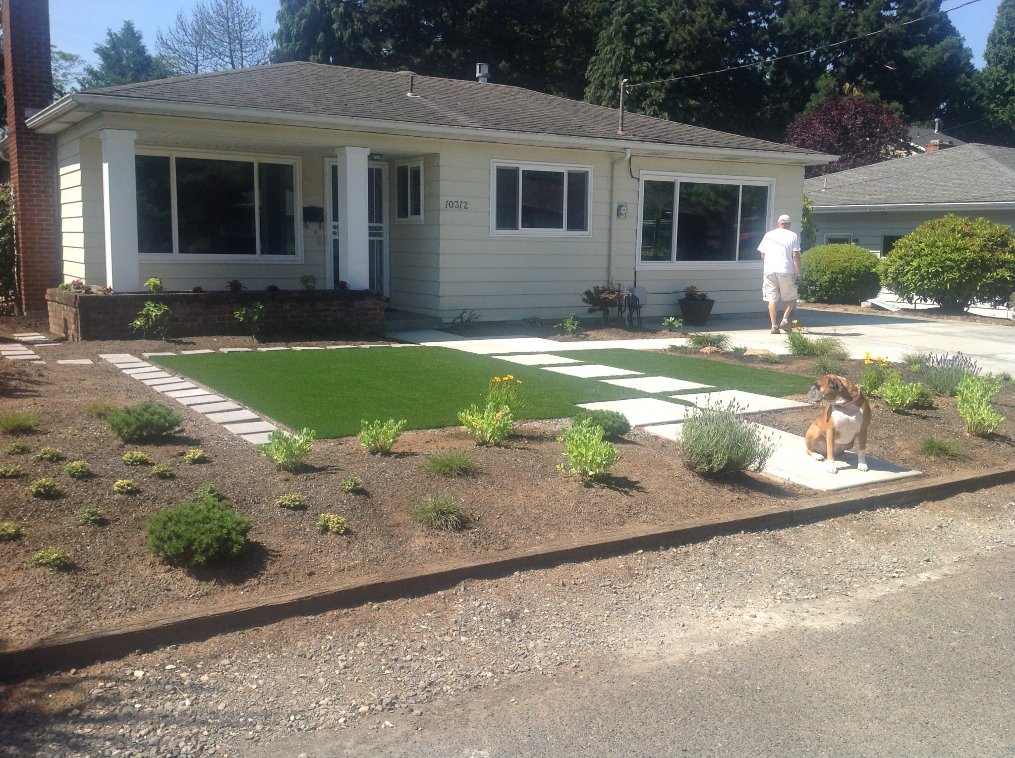 Synthetic Lawn Installed In Front Yard Landscape Design In A Day