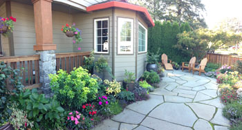 Janet loves sitting out in her patio garden and also seeing the color explosion from her dining nook.