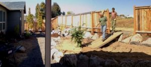 Construction process for difficult site with poor drainage.