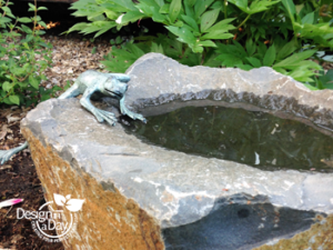 Water for birds and bees in Arbor Lodge landscape design Portland Oregon