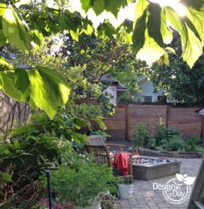 Firepit with a gas line for Portland back yard landscape design Grant Park