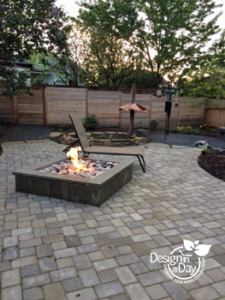 Firepit and back yard Landscape Design in a Day Grant Park Portland Oregon